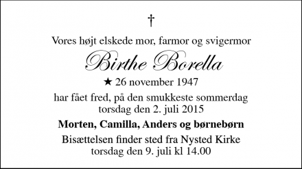Dødsannoncen for Birthe Borella - Nysted