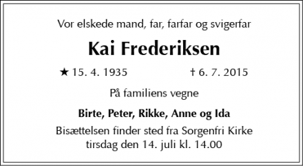 Dødsannoncen for Kai Frederiksen - Virum