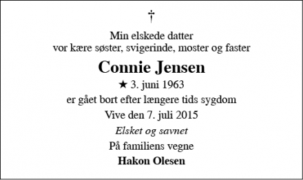 Dødsannoncen for Connie Jensen - Vive