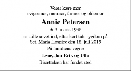 Dødsannoncen for Annie Petersen - Fredericia