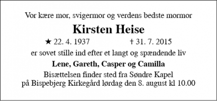 Dødsannoncen for Kirsten Heise - Udsholt, 3230 Græsted