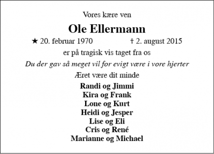 Dødsannoncen for Ole Ellermann - Nr. Aaby