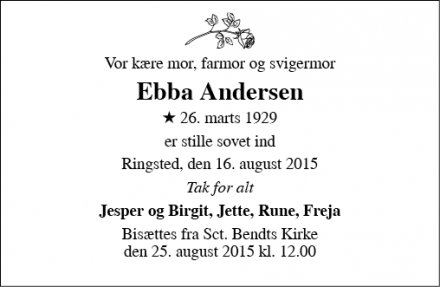 Dødsannoncen for Ebba Andersen - Ringsted