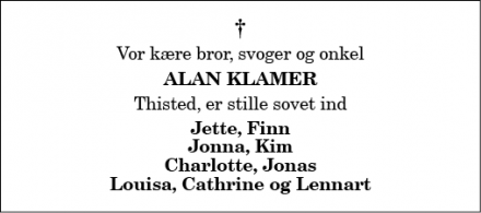 Dødsannoncen for Alan Klamer - Thisted