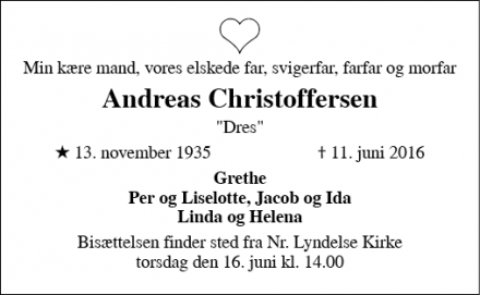 Dødsannoncen for Andreas Christoffersen - Nr. Lyndelse