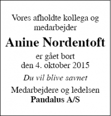 Dødsannoncen for Anine Nordentoft - Thisted