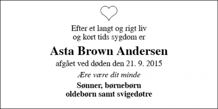 Dødsannoncen for Asta Brown Andersen - Søborg