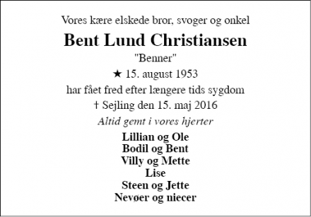 Dødsannoncen for Bent Lund Christiansen - Brande