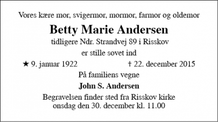 Dødsannoncen for Betty Marie Andersen - Risskov