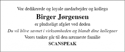 Dødsannoncen for Birger Jørgensen - Grindsted