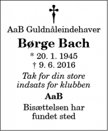 Dødsannoncen for Børge Bach - Birsted