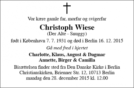Dødsannoncen for Christoph Wiese - Berlin