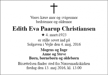 Dødsannoncen for Edith Eva Paarup Christiansen - Vejle