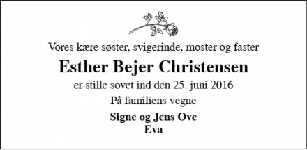 Dødsannoncen for Esther Bejer Christensen - Brørup