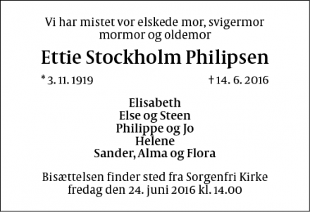 Dødsannoncen for Ettie Stockholm Philipsen - Virum