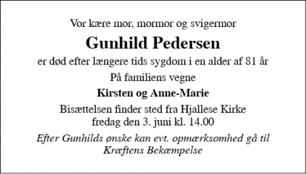 Dødsannoncen for Gunhild Pedersen - Hedensted