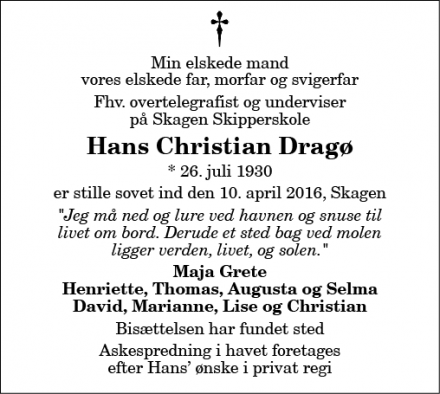 Dødsannoncen for Hans Christian Dragø - Skagen