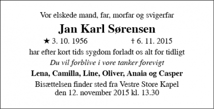 Dødsannoncen for Jan Karl Sørensen - Egå