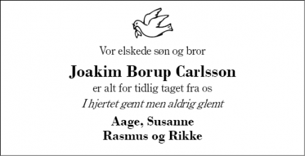 Dødsannoncen for Joakim Borup Carlsson - Herning