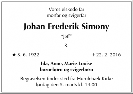 Dødsannoncen for Johan Frederik Simony - Virum