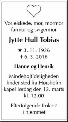 Dødsannoncen for Jytte Hull Tobias - Rungsted Kyst