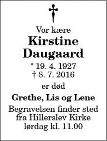 Dødsannoncen for Kirstine Daugaard - Thisted
