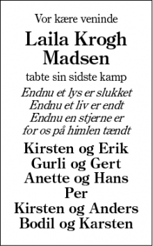 Dødsannoncen for Laila Krogh Madsen - Sunds