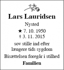 Dødsannoncen for Lars Lauridsen - Nysted