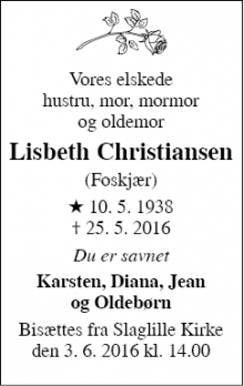 Dødsannoncen for Lisbeth Christiansen - Fjenneslev