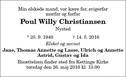 Dødsannoncen for Poul Willy Christiansen - Nysted