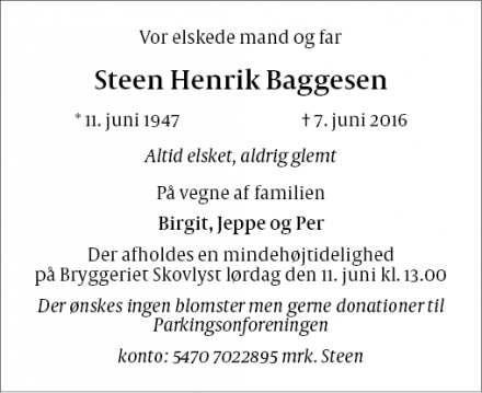 Dødsannoncen for Steen Henrik Baggesen - Ballerup