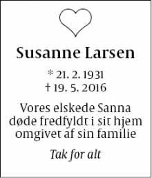 Dødsannoncen for Susanne Larsen - Farum