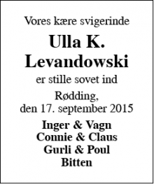 Dødsannoncen for Ulla K. Levandowski - Rødding