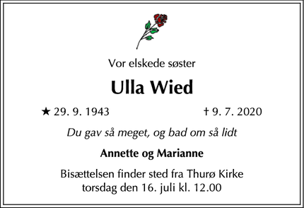 Dødsannoncen for Ulla Wied - Thurø