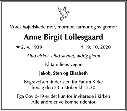 Dødsannoncen for Anne Birgit Lollesgaard - Humlebæk
