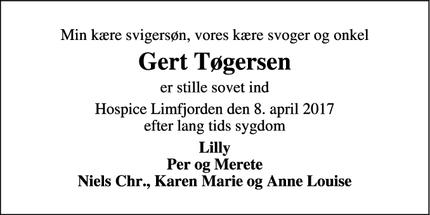 Dødsannoncen for Gert Tøgersen - Thisted