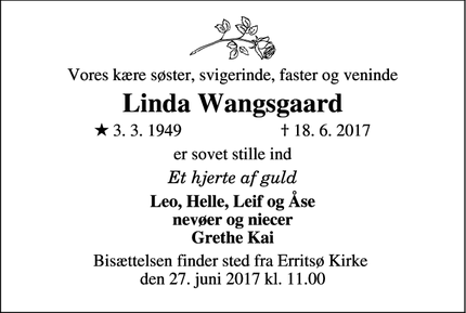 Dødsannoncen for Linda Wangsgaard - Pjedsted