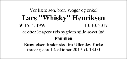 "Dødsannoncen for Lars ""Whisky"" Henriksen - Ullerslev"