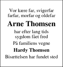 Dødsannoncen for Arne Thomsen - Haderslev