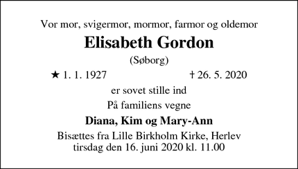 Dødsannoncen for Elisabeth Gordon - Herlev