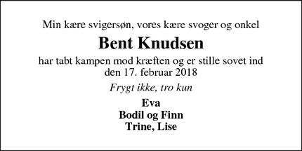 Dødsannoncen for Bent Knudsen - Bording Stationsby