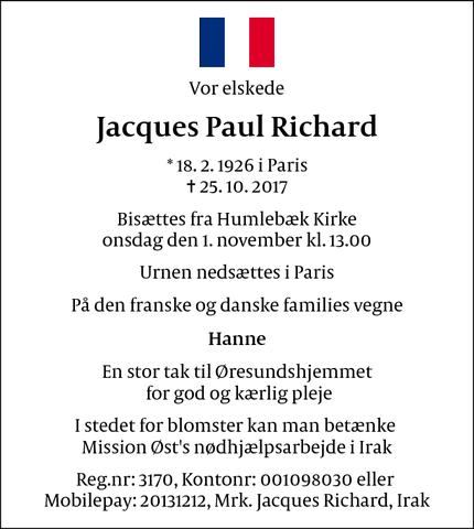 Dødsannoncen for  Jacques Paul Richard - Humlebæk