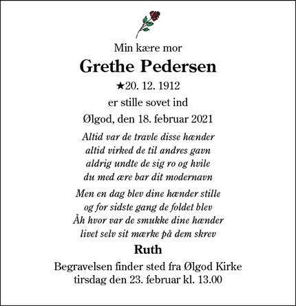 Dødsannoncen for Grethe Pedersen - Ølgod