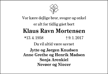 Dødsannoncen for Klaus Ravn Mortensen - Bramming