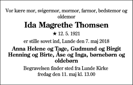 Dødsannoncen for Ida Magrethe Thomsen - Lunde