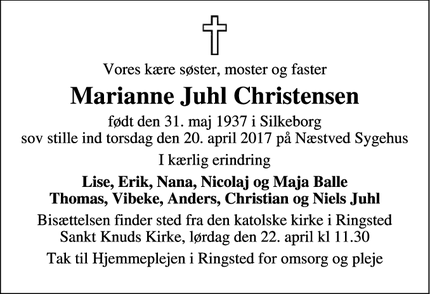 Dødsannoncen for Marianne Juhl Christensen - Ringsted