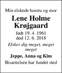 Dødsannoncen for Lene Holme Krøjgaard - Ringsted