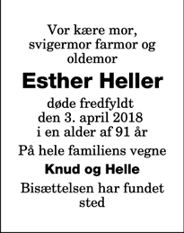 Dødsannoncen for Esther Heller - Nykøbing F