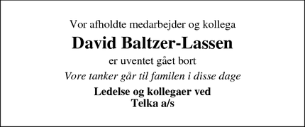 Dødsannoncen for David Baltzer-Lassen - Lemming