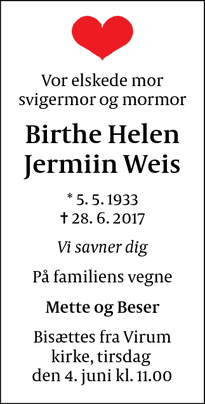 Dødsannoncen for Birthe Helen Jermiin Weis - Virum